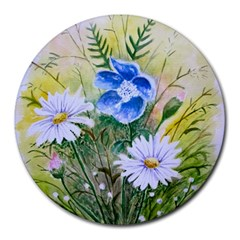 Meadow Flowers Round Mousepad by ArtByThree