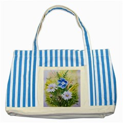 Meadow Flowers Striped Blue Tote Bag by ArtByThree