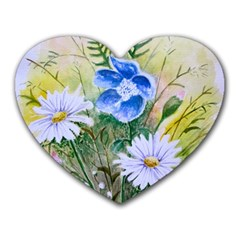Meadow Flowers Mousepad (heart) by ArtByThree