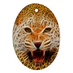 Electrified Fractal Jaguar Ornament (oval) by TheWowFactor