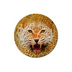 Electrified Fractal Jaguar Magnet 3  (round) by TheWowFactor