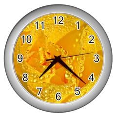 Waterdrops Wall Clock (silver) by Siebenhuehner