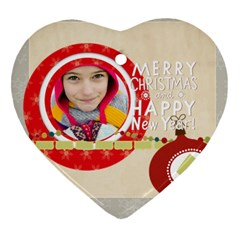 Merry Christmas By Merry Christmas   Heart Ornament (two Sides)   Ltcfs8ruxy0d   Www Artscow Com Front