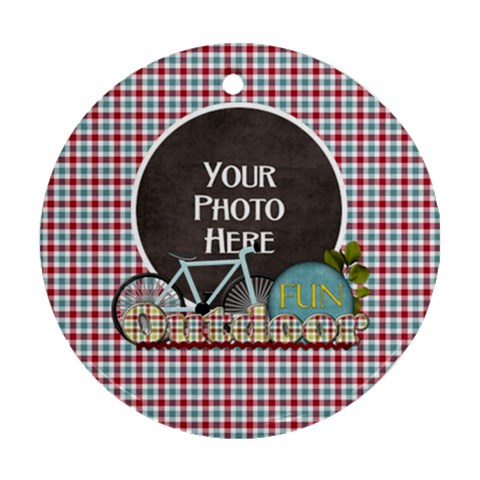 Bike Ornament By Lisa Minor   Ornament (round)   Hltr8919c8wk   Www Artscow Com Front