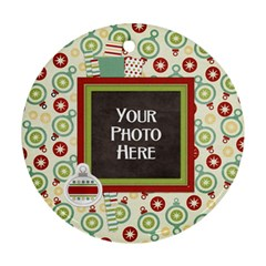 Happy Holidays Ornament By Lisa Minor   Round Ornament (two Sides)   M05ox1n4oeyb   Www Artscow Com Front
