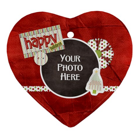 Happy Holidays Ornament By Lisa Minor   Ornament (heart)   Sc5h5476pbvy   Www Artscow Com Front