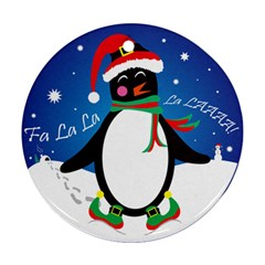 Enthusiastic Christmas Penguin  Round Ornament (Two Sides) by TheFandomWard