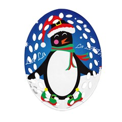 Enthusiastic Christmas Penguin  Ornament (oval Filigree)