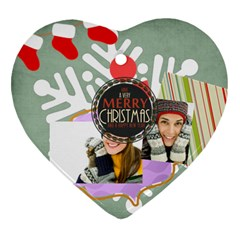 Merry Christmas By Merry Christmas   Heart Ornament (two Sides)   E1u093vgj3yv   Www Artscow Com Front
