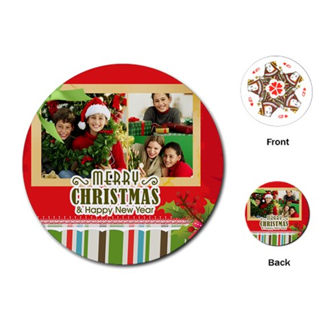 Merry Christmas By Merry Christmas   Playing Cards (round)   Wg6nubfucqfv   Www Artscow Com Front