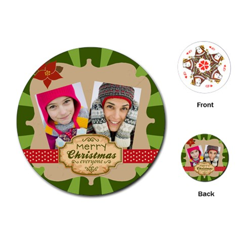 Merry Christmas By Merry Christmas   Playing Cards (round)   Qj4am352okpj   Www Artscow Com Front