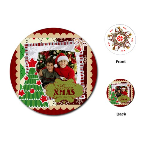 Merry Christmas By Merry Christmas   Playing Cards (round)   Ika5uqo3lnv9   Www Artscow Com Front