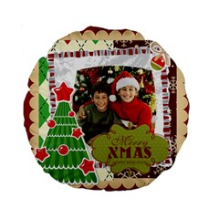 Merry Christmas By Merry Christmas   Standard 15  Premium Round Cushion    Uu80e19pof4v   Www Artscow Com Front