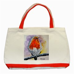Robin Red Breast Classic Tote Bag (red) by ArtByThree