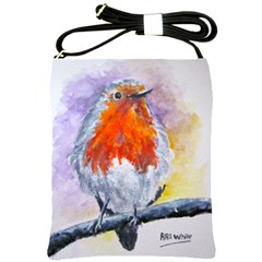 Robin Red Breast Shoulder Sling Bag by ArtByThree