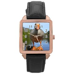 Geese Rose Gold Leather Watch  by Siebenhuehner