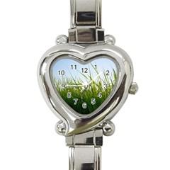 Grass Heart Italian Charm Watch  by Siebenhuehner