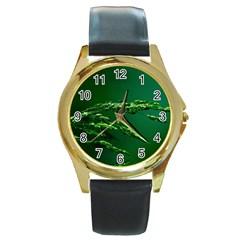 Waterdrops Round Metal Watch (gold Rim)  by Siebenhuehner