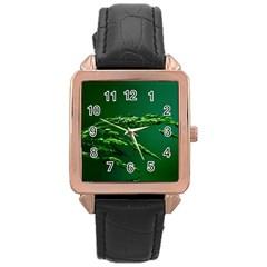 Waterdrops Rose Gold Leather Watch  by Siebenhuehner