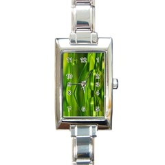 Green Bubbles  Rectangular Italian Charm Watch by Siebenhuehner