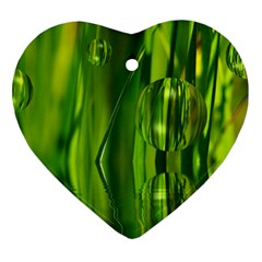 Green Bubbles  Heart Ornament by Siebenhuehner