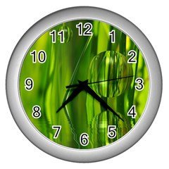 Green Bubbles  Wall Clock (silver) by Siebenhuehner