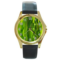 Green Bubbles  Round Metal Watch (gold Rim)  by Siebenhuehner