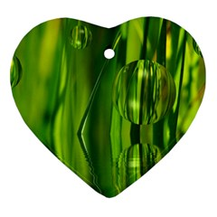 Green Bubbles  Heart Ornament (two Sides) by Siebenhuehner