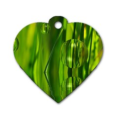 Green Bubbles  Dog Tag Heart (one Sided)  by Siebenhuehner