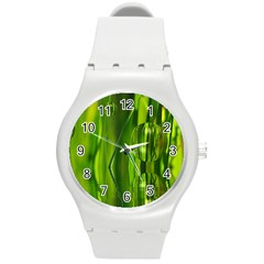 Green Bubbles  Plastic Sport Watch (medium) by Siebenhuehner