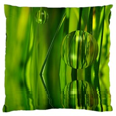 Green Bubbles  Large Cushion Case (single Sided)  by Siebenhuehner