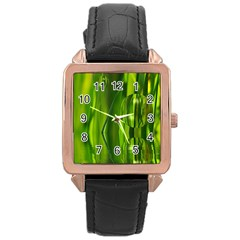 Green Bubbles  Rose Gold Leather Watch  by Siebenhuehner