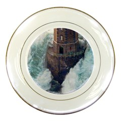 waves and brick lighthouse 2 Porcelain Plate from CowCow.com Front