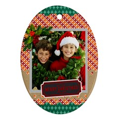 Merry Christmas By Merry Christmas   Oval Ornament (two Sides)   Ks8fj4mgzfvc   Www Artscow Com Front