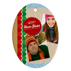 Merry Christmas By Merry Christmas   Oval Ornament (two Sides)   1rgsgaiiua12   Www Artscow Com Front