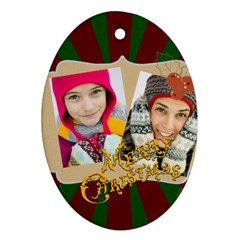 Merry Christmas By Merry Christmas   Oval Ornament (two Sides)   Avsc6pjul2sw   Www Artscow Com Front