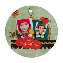 Merry Christmas By Merry Christmas   Round Ornament (two Sides)   Jrog13as51i9   Www Artscow Com Front