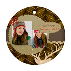 Merry Christmas By Merry Christmas   Round Ornament (two Sides)   Rff4yikn0nky   Www Artscow Com Front