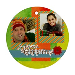 Merry Christmas By Merry Christmas   Round Ornament (two Sides)   17s1kpp2nhr1   Www Artscow Com Front