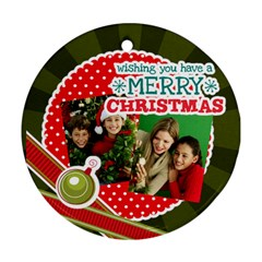 Merry Christmas By Merry Christmas   Round Ornament (two Sides)   Tsz4u051e150   Www Artscow Com Front