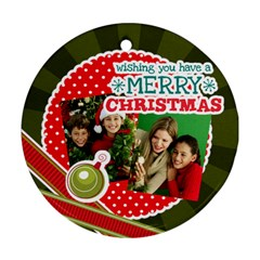 Merry Christmas By Merry Christmas   Round Ornament (two Sides)   8kalhwb5p37f   Www Artscow Com Back