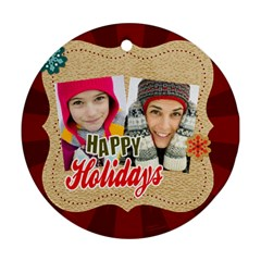 Merry Christmas By Merry Christmas   Round Ornament (two Sides)   V7kvcx02ogzs   Www Artscow Com Front