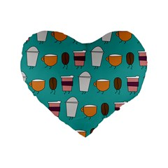 Time For Coffee 16  Premium Heart Shape Cushion  by PaolAllen
