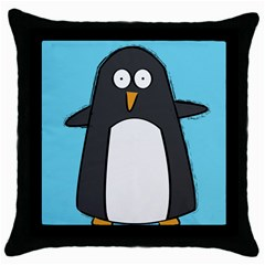 Hello Penguin Black Throw Pillow Case by PaolAllen