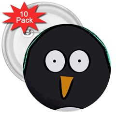 Penguin Close Up 3  Button (10 Pack)