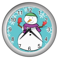 Snowman Wall Clock (silver) by PaolAllen