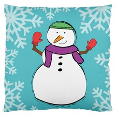 Snowman Large Cushion Case (single Sided)  by PaolAllen