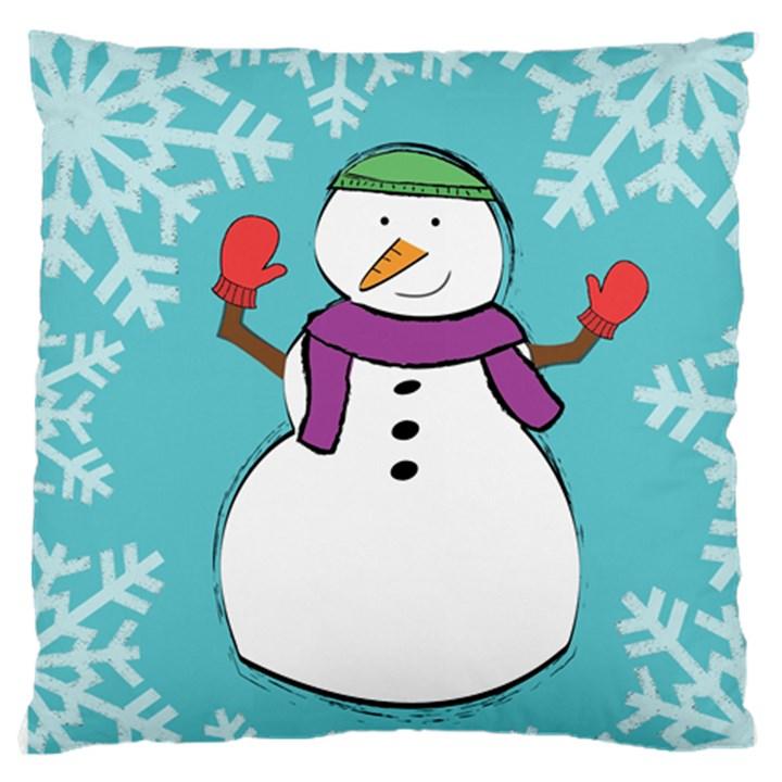 Snowman Large Cushion Case (Single Sided)