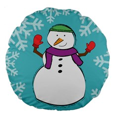Snowman 18  Premium Round Cushion  by PaolAllen