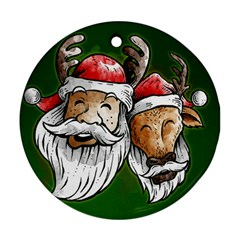 Deer Santa, Merry Christmas Round Ornament (two Sides)